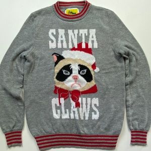 Grumpy Cat Santa CLAWS Ugly Christmas Sweater Sz M